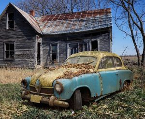 scrap car coved with leaves