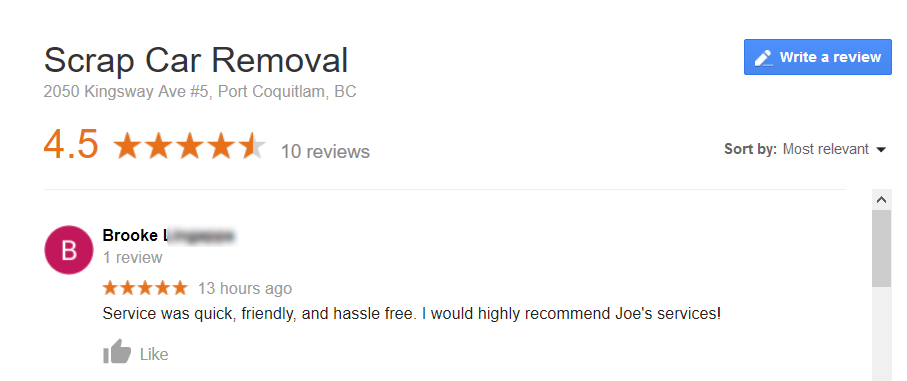 scrap car removal vancouver five-star review