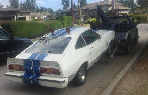 Joe towing a valuable collectors car - a Ford Mustang Cobra!